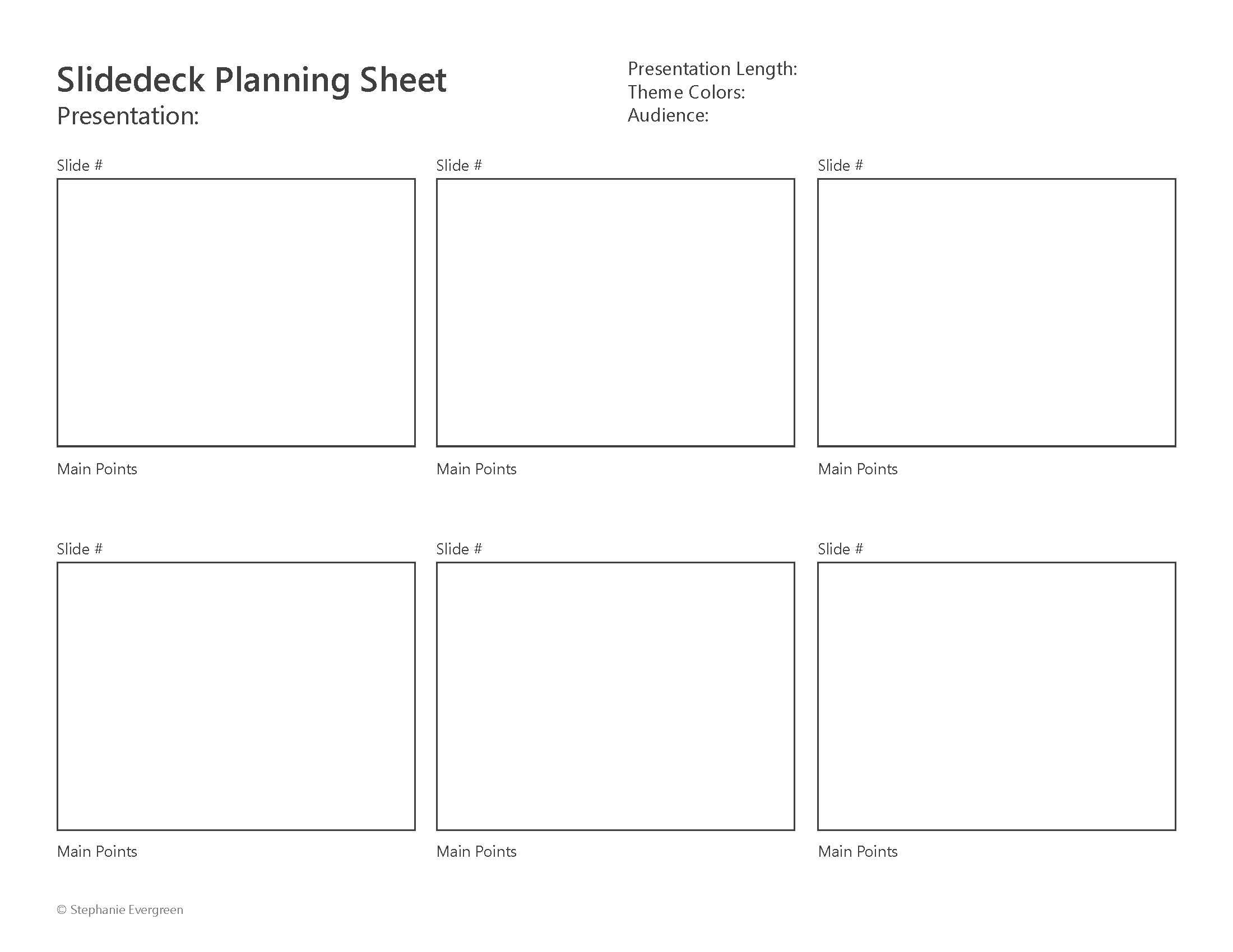 Slidedeck Planning Sheet