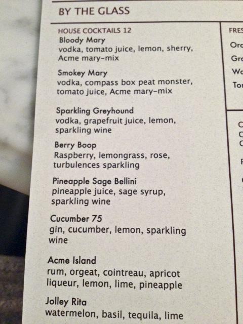 Acme Cocktail Menu, Great Jones St. NY