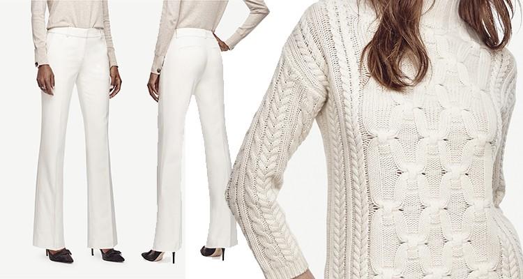 Ivory trousers, Braided Cashmere. #whiteonwhite #holiday #luxury