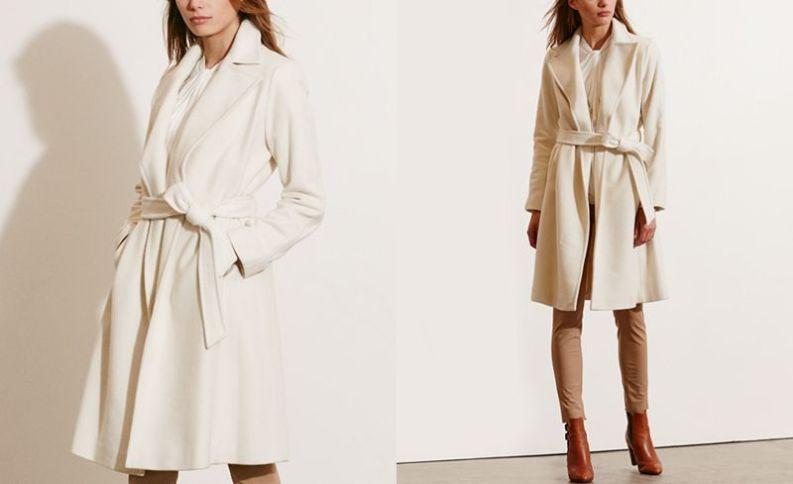 Ivory cream coat, bathrobe style, Ralph Lauren Winter