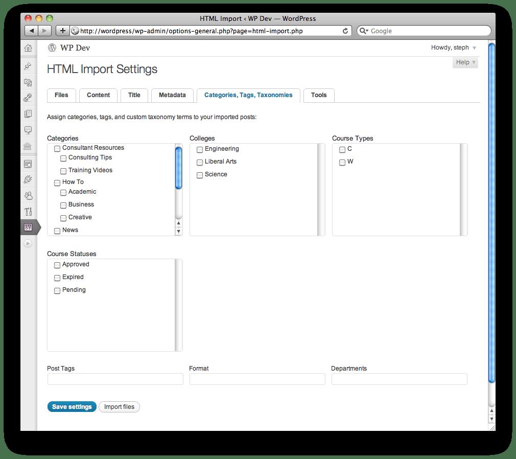 HTML Import 2.0 User Guide
