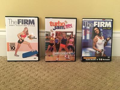 three fitness dvds