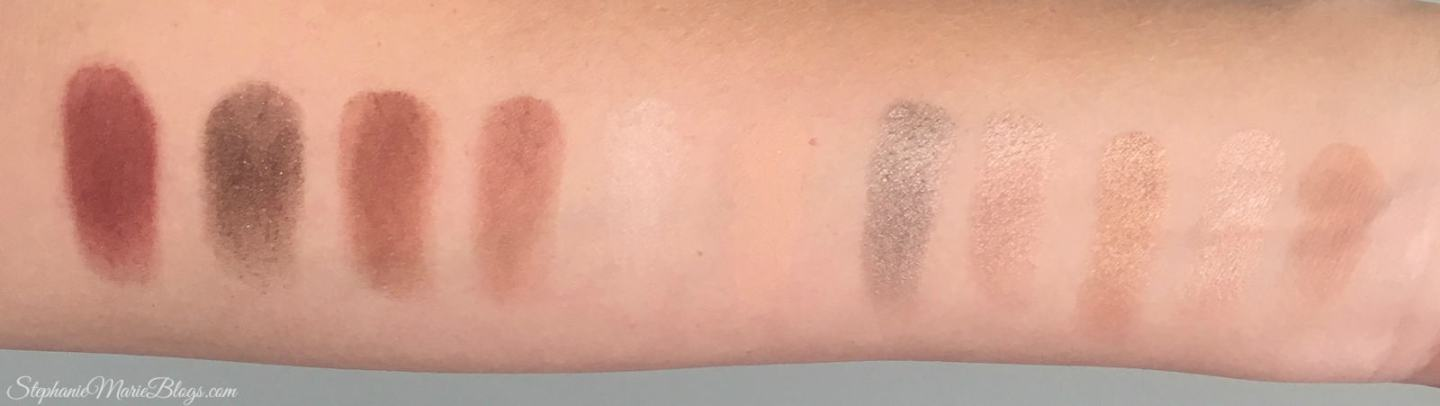 makeup swatches on arm