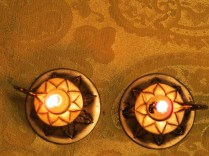 From above: candles on a Seder table