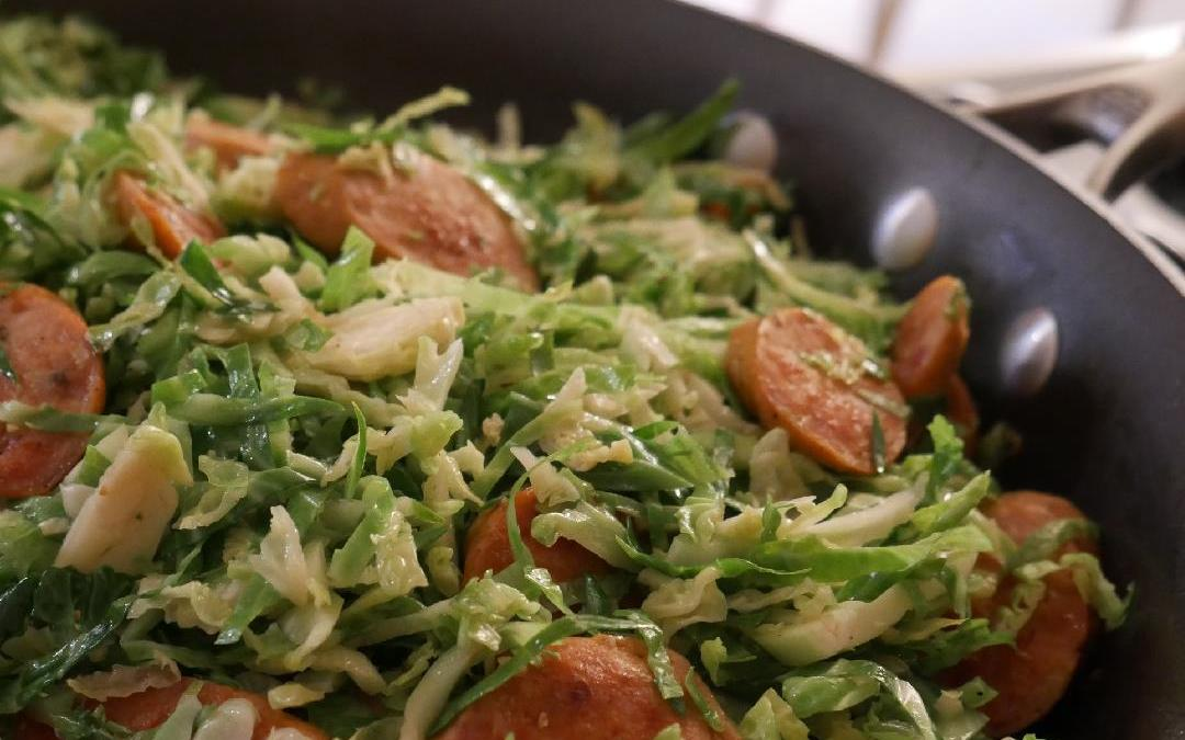 How to Make Food Fast: Chicken Sausage and Brussels Sprouts