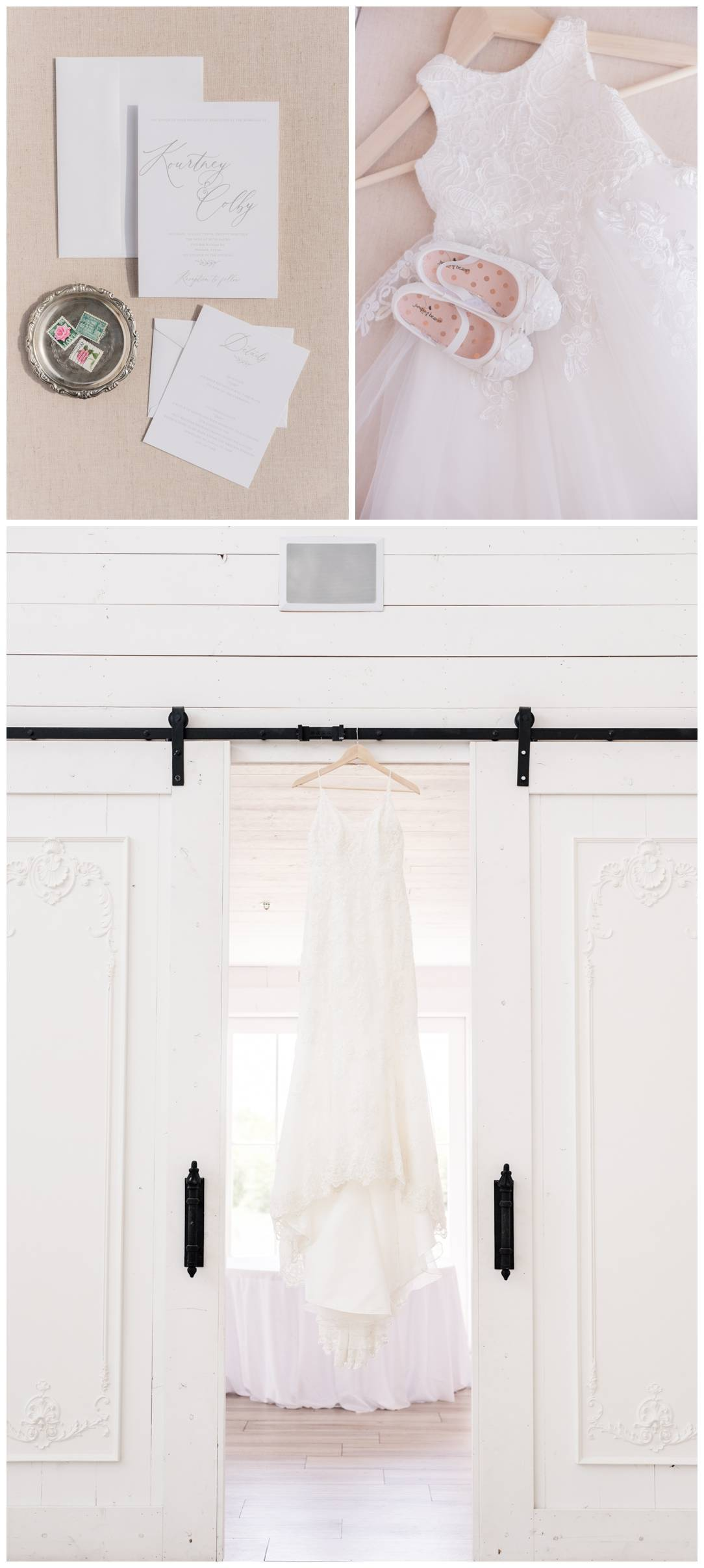 Bride's Wedding Gown Hanging at the nest at ruth farms
