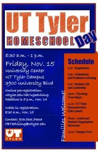 UT Tyler Homeschool Day Poster, Illustrator & Photoshop, Fall 2013