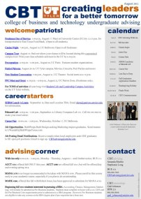 College of Business and Technology one-page bulletin