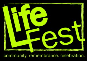 Life Fest logo design, neon green letters on field of black