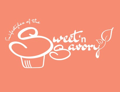 Pink reverse of logo for Lifestyles of the Sweet and Savory catering service