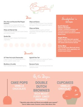 Menu design, back, for Lifestyles of the Sweet and Savory catering service