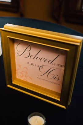 Wedding sign in gold frame, Bible quote: My Beloved is Mine and I am His. Song of Solomon.