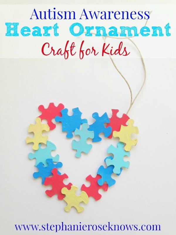 Autism Awareness Heart Ornament