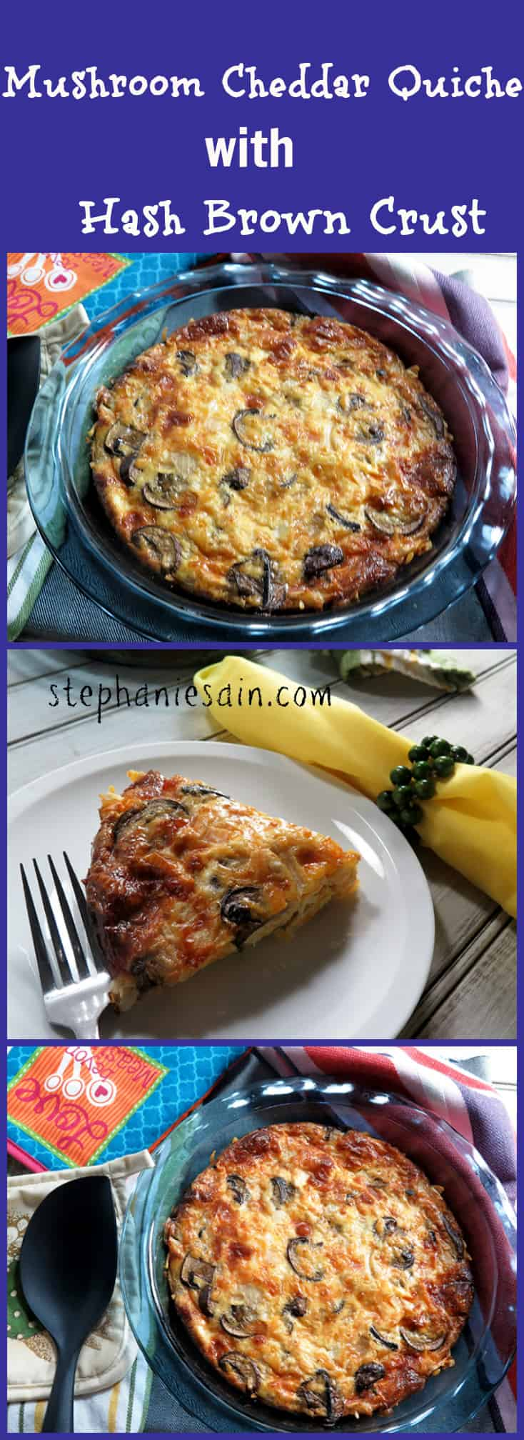 Mushroom Cheddar Quiche with Hash brown Crust is a tasty quiche with a naturally gluten free crust made from potatoes. Perfect addition for brunch or dinner. Vegetarian and Gluten Free.