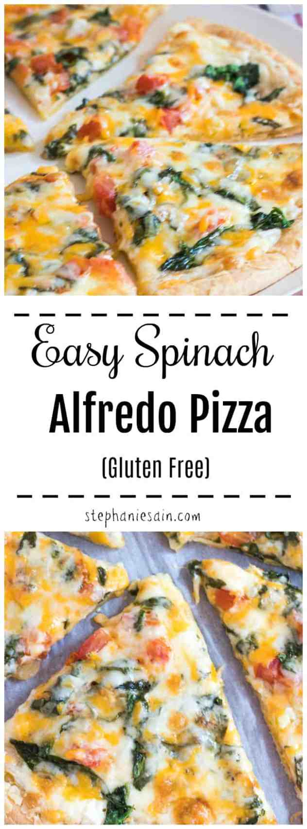 This Easy Spinach Alfredo Pizza is topped with a creamy delicious homemade alfredo, then followed by a combo of spinach, tomato, & onion. If you're a fan of Alfredo then this is for you! Perfect way to switch up Pizza night! Gluten Free.