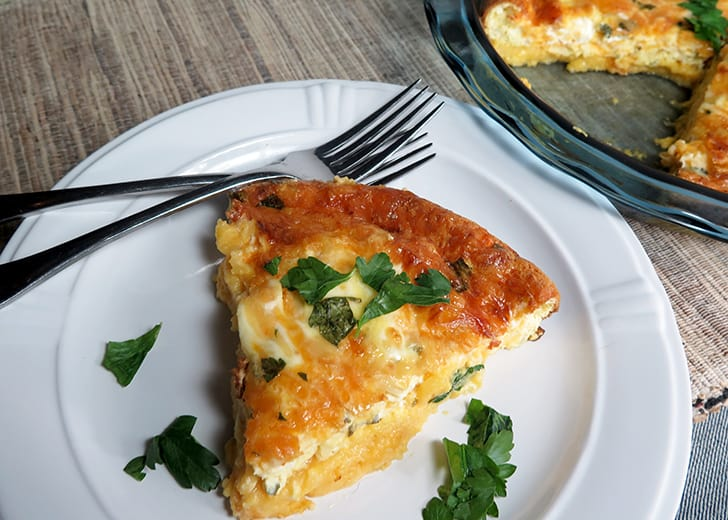 Three Cheese Quiche with Grits Crust