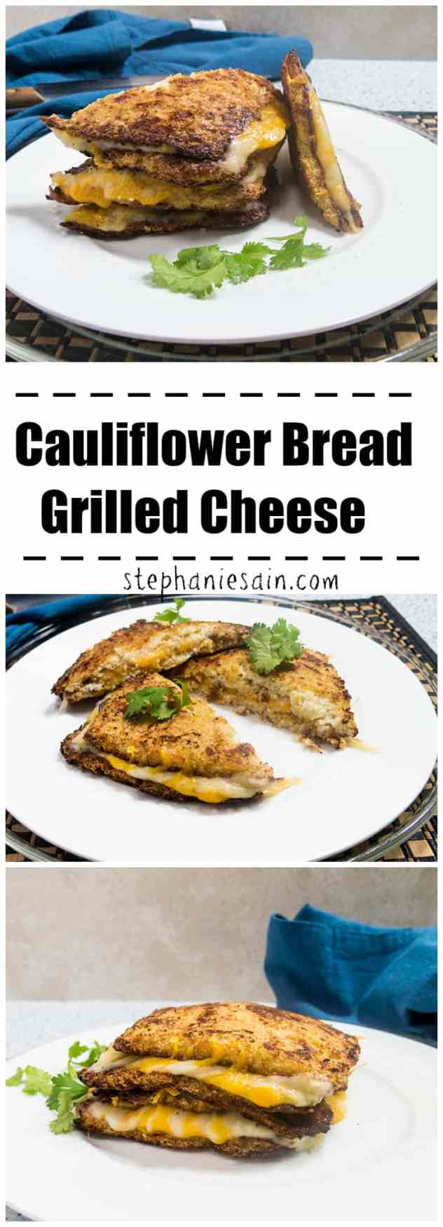 Cauliflower Bread Grilled Cheese is a tasty, healthy lower carb option for your favorite grilled cheese sandwich. Vegetarian and Gluten Free.