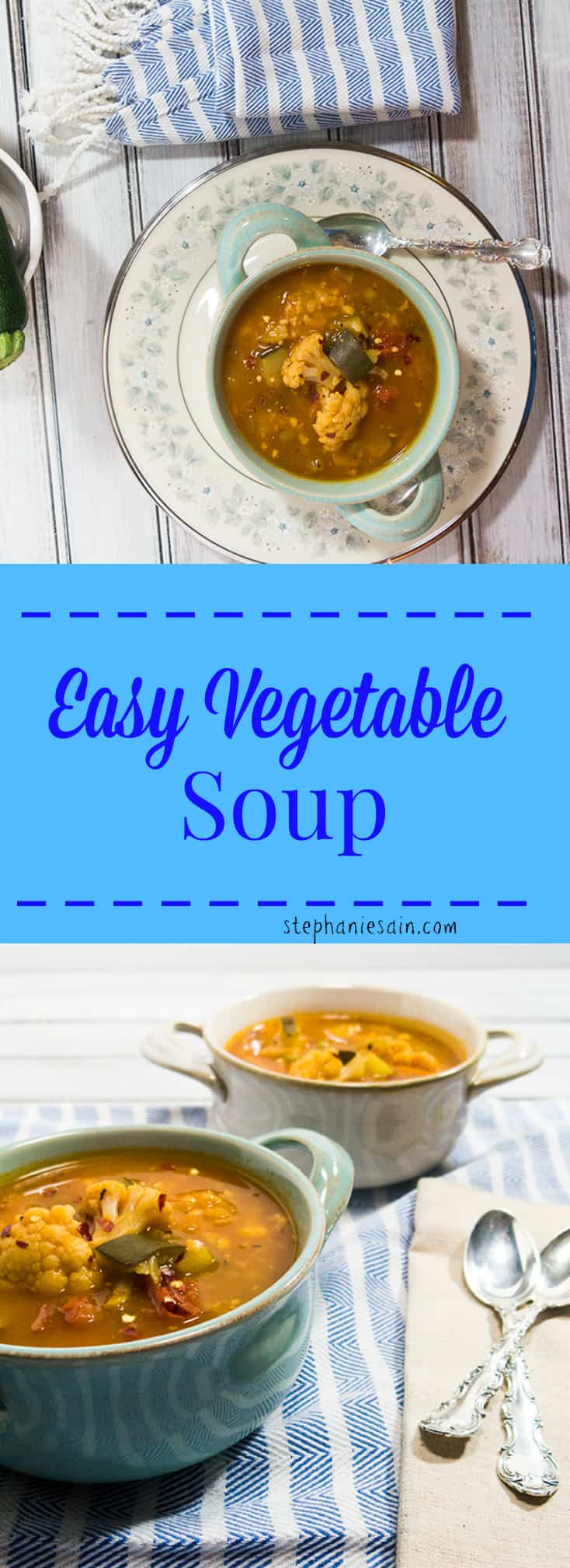 Easy Vegetable Soup is a tasty, hearty bowl of soup that is perfect for anytime. Great served as a meal with salad and GF bread sticks. Vegan and Gluten Free.
