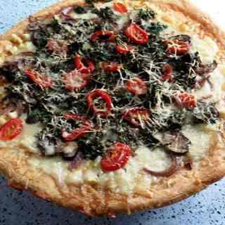 Garlicky Mushroom Kale Pizza