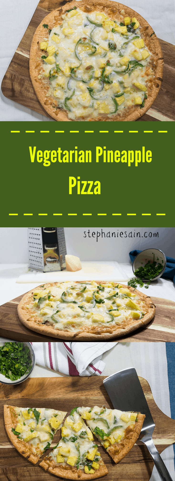Vegetarian Pineapple Pizza is loaded with fresh pineapple and jalapenos that make for the perfect blend of sweet and savory. Gluten Free.