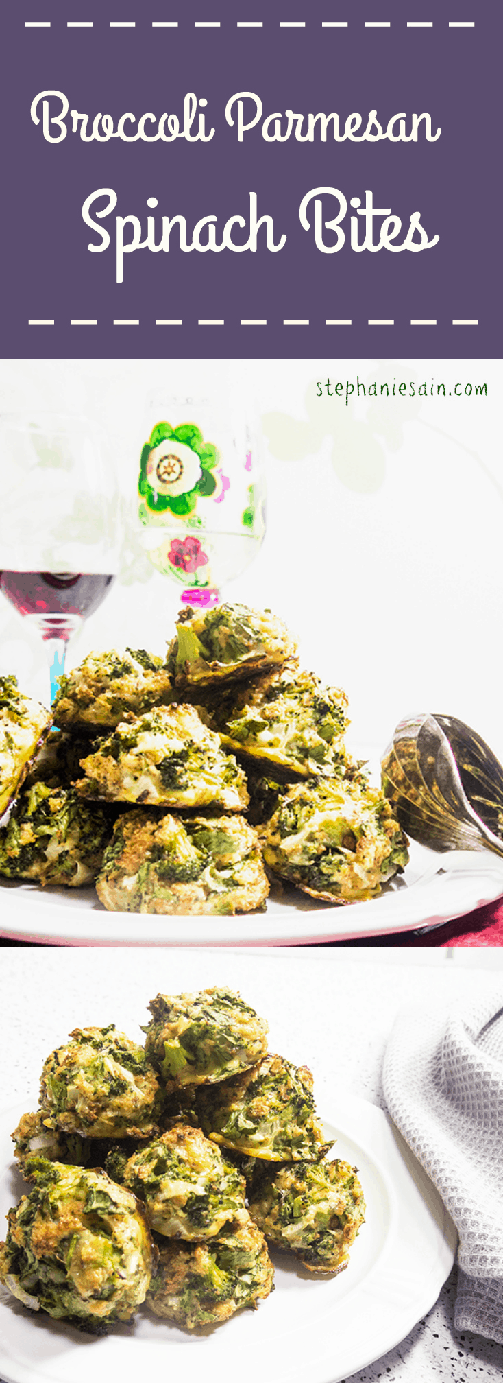Broccoli Parmesan Spinach Bites are a tasty, healthy, snack or appetizer that are vegetarian and gluten free.