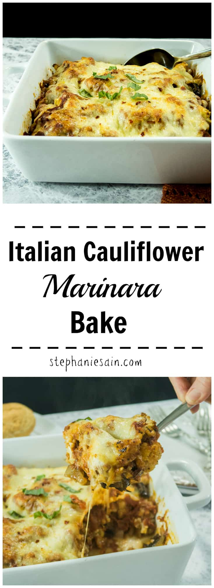 Italian Cauliflower Marinara Bake is super Easy to make and requires Only 5 ingredients. All the taste of a classic Italian meal without all the carbs. Gluten Free & Vegetarian.