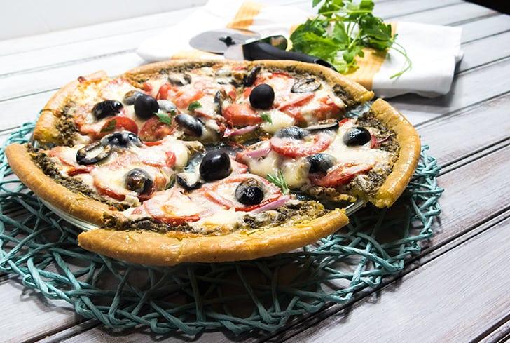 Basil Pesto & Tomato Pizza