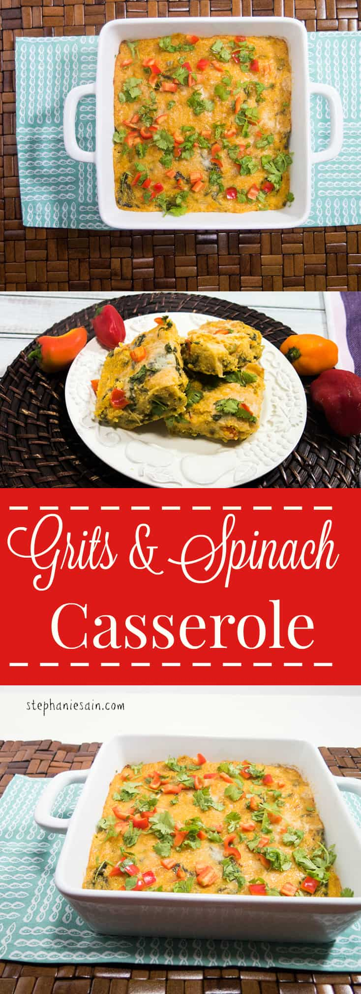 Grits and Spinach Casserole is the perfect make ahead brunch or dinner. Vegetarian and Gluten Free.