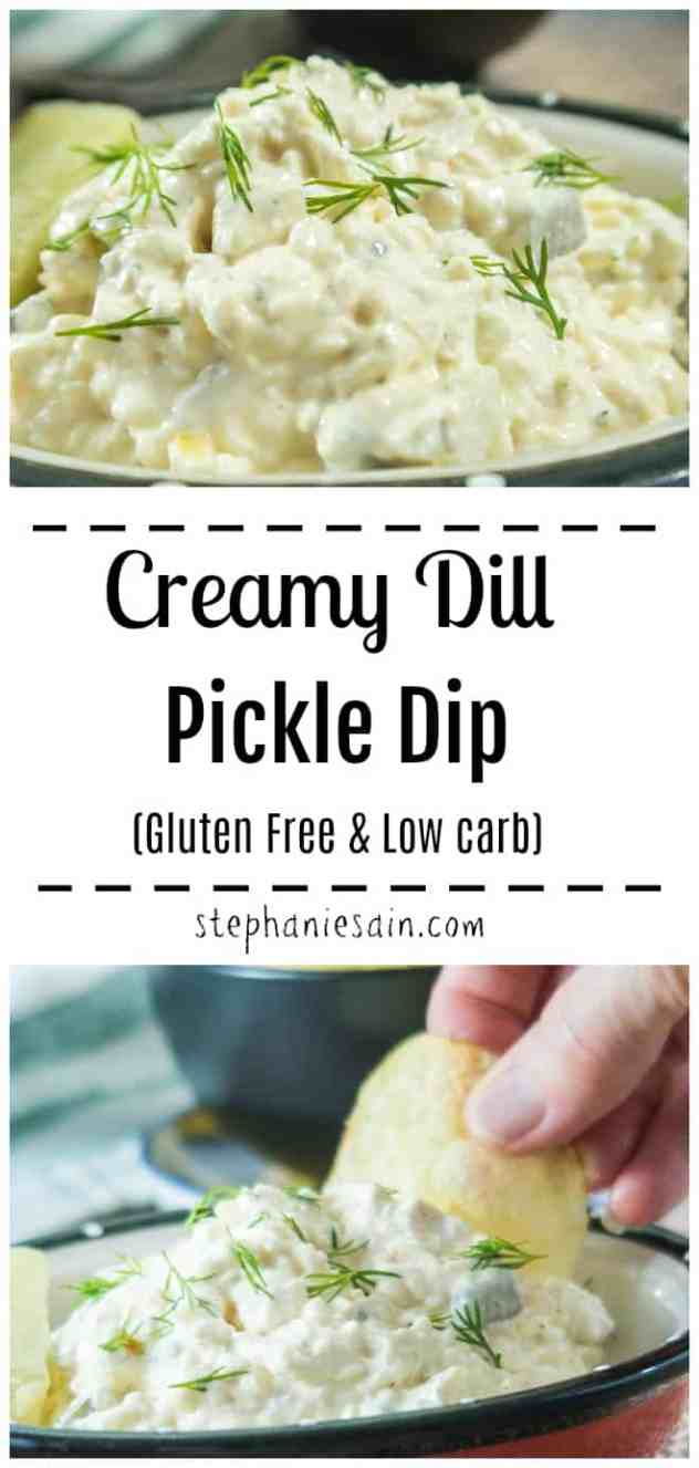 This Creamy Dill Pickle Dip only requires a few ingredients & is super quick to prepare. Great with chips, crackers, veggies and more. The perfect dip for parties, family nights, or any occasion. Gluten Free & Low carb.