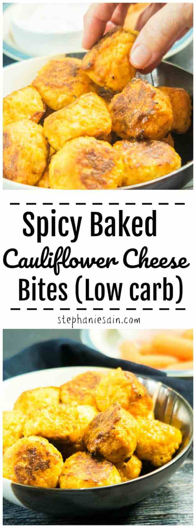 These Spicy Baked Cauliflower Cheese Bites are spicy, cheesy, flavorful little hand held bites perfect for an appetizer, game day, or even dinner with some sides. Gluten Free & Low Carb.