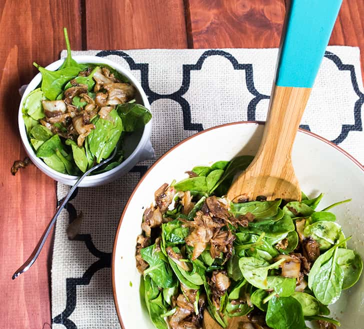 Caramelized Cabbage & Spinach Salad