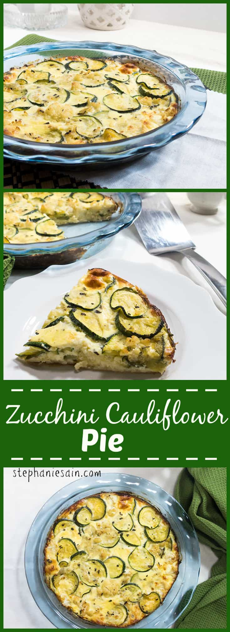 Zucchini Cauliflower Pie is a healthy, tasty pie filled with zucchini , cauliflower & cheese. Vegetarian and Gluten Free.