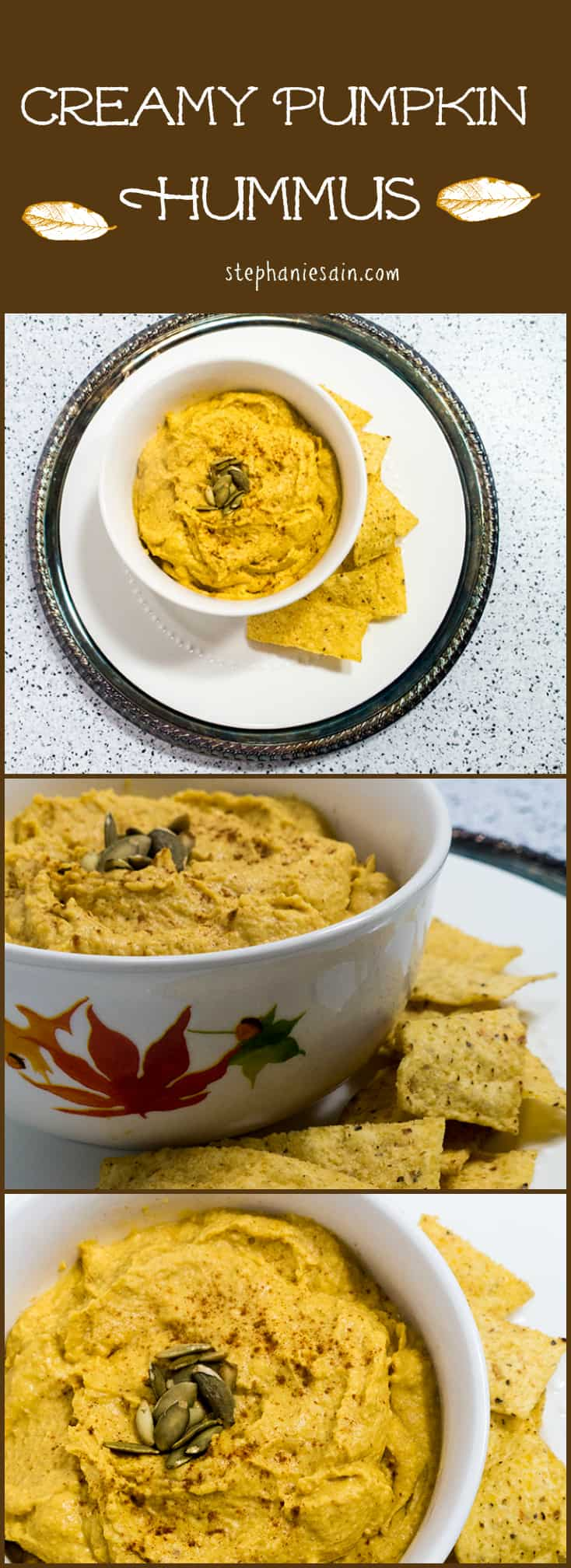 Creamy Pumpkin Hummus is the perfect dip for all your fall festivities. Vegan, Vegetarian, and Gluten Free.