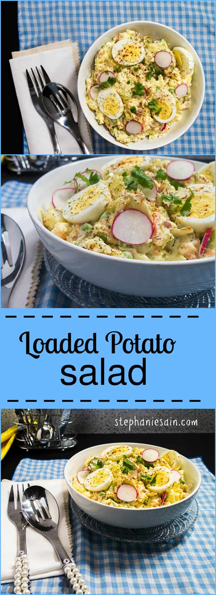 Loaded Potato Salad is the perfect side for any gathering or cookout. Fully loaded and could also stand alone as a complete meal. Vegetarian and Gluten Free.