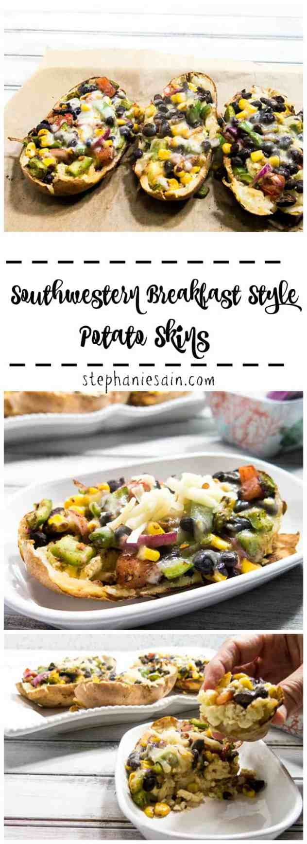Southwestern Breakfast Style Potato Skins are a healthy, tasty, protein packed breakfast to start your day off right. Vegetarian and Gluten Free.