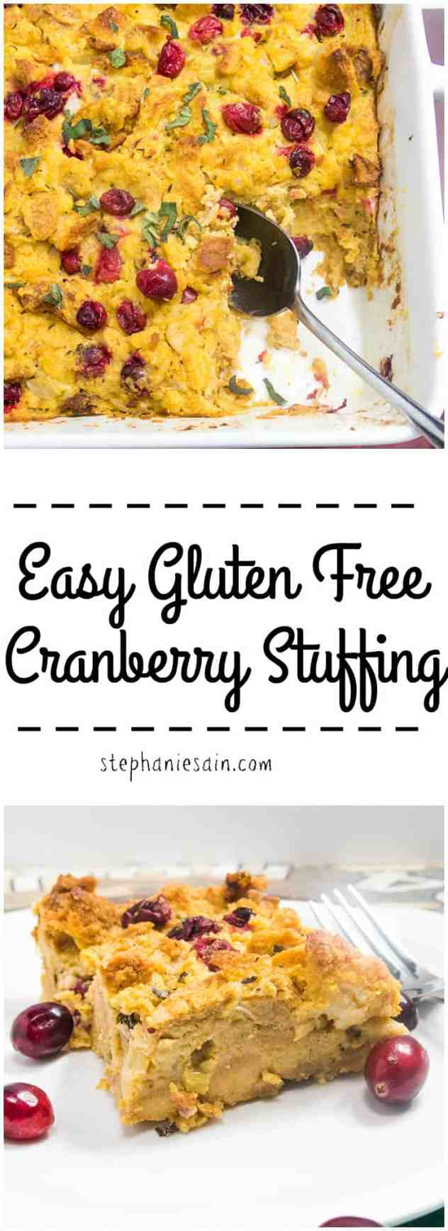 Easy Gluten Free Cranberry Stuffing is a tasty, moist stuffing perfect for the holiday table. Vegetarian and Gluten Free.