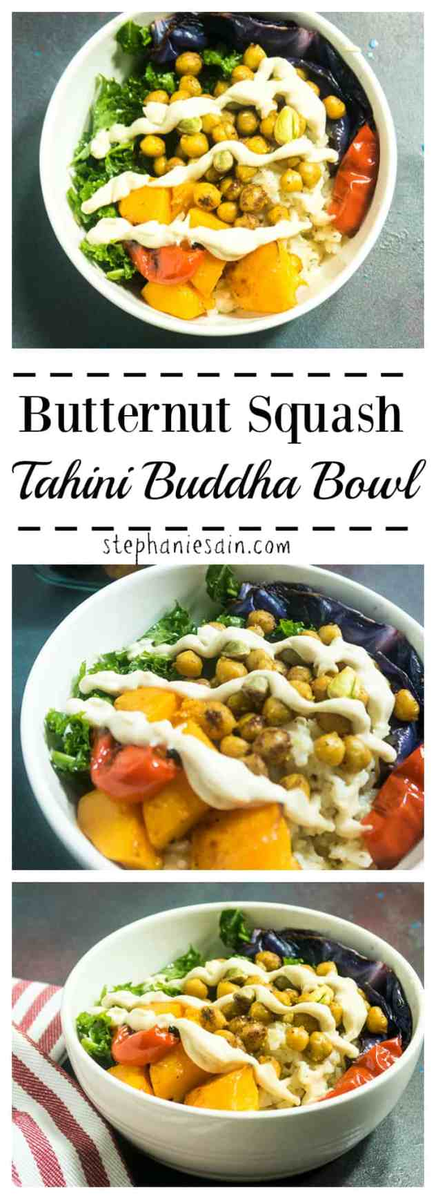Butternut Squash Tahini Buddha Bowl is loaded with roasted veggies, brown rice, kale and toasted chickpeas. A great healthy one bowl dinner option. Vegan & Gluten Free.