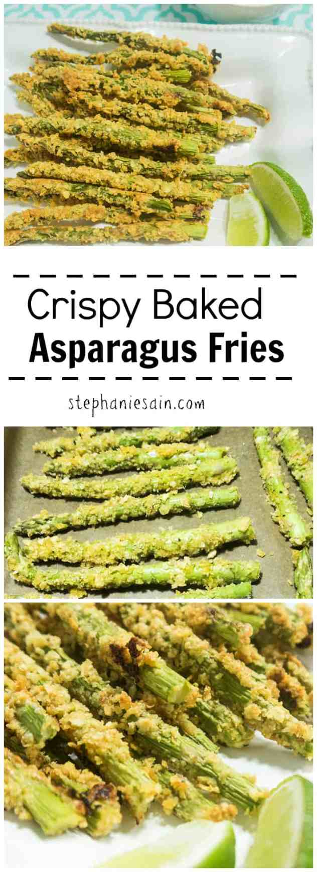 Crispy Baked Asparagus Fries are a tasty healthier version for fries. They are the perfect side with almost anything or could even be served as an appetizer. Vegetarian & Gluten Free.