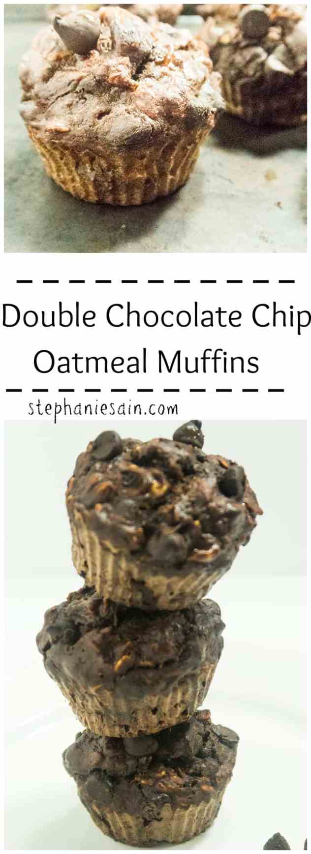 Double Chocolate Chip Oatmeal Muffins are a healthier tasty option perfect for breakfast or snacking.No refined sugars added.Gluten Free & Vegetarian.