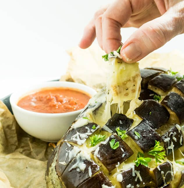 Cheesy Garlic Pull Apart Eggplant
