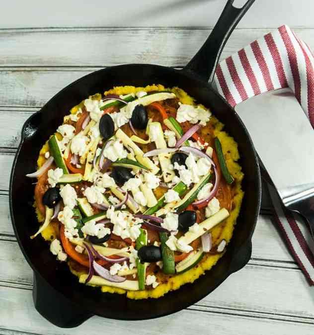 Skillet Baked Polenta Goat Cheese Pizza