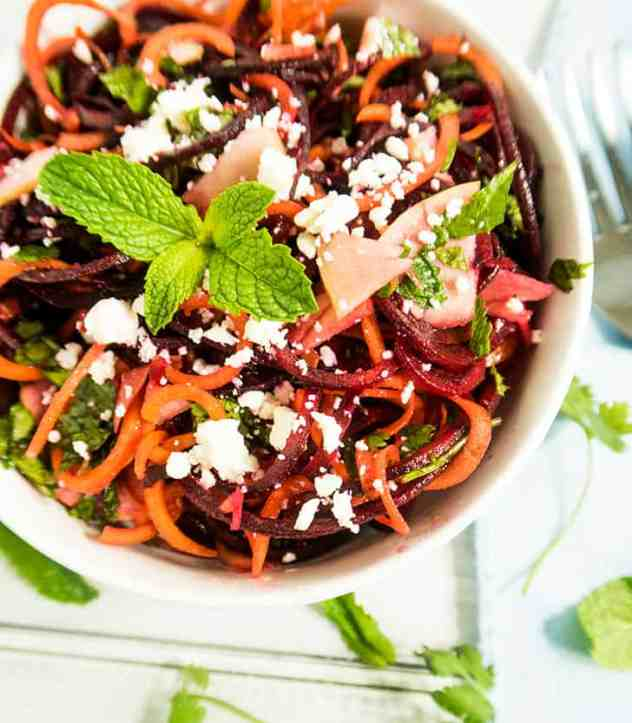 Spiralized Carrot Apple & Beet Salad