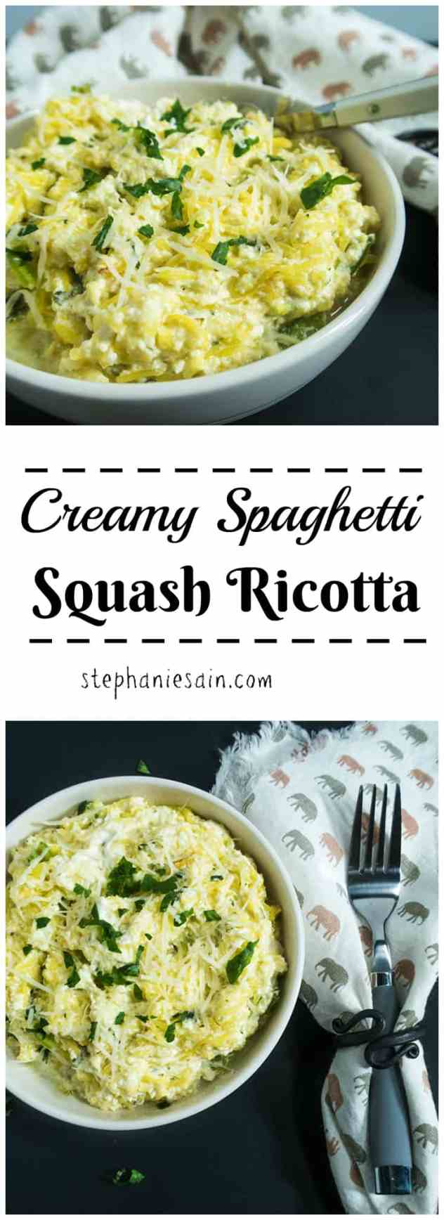 Creamy Spaghetti Squash Ricotta is made with a tasty, cheesy sauce and is an easy to prepare dinner. Low carb, Gluten Free & Vegetarian.