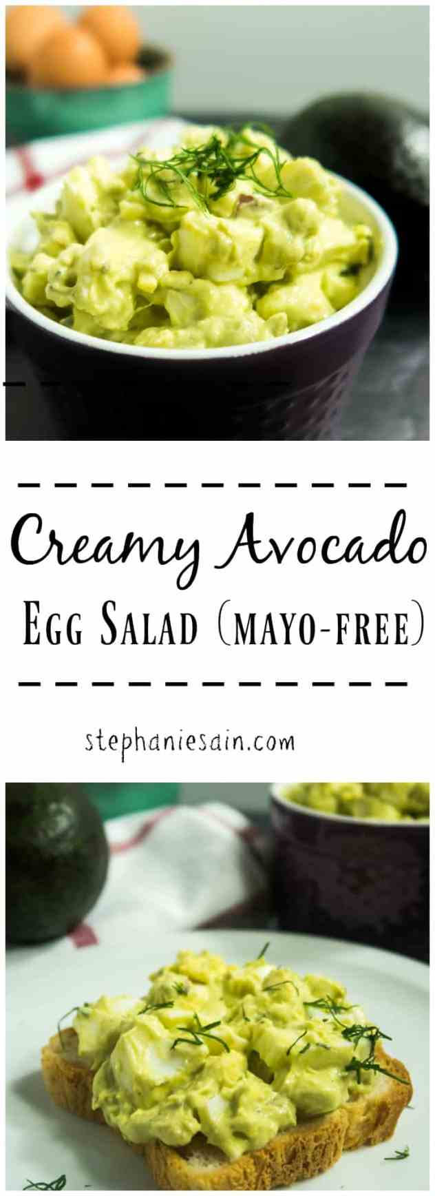 This Creamy Avocado Egg Salad is mayo free and the perfect accompaniment on sandwiches, chips, or veggies. Gluten Free & Vegetarian.
