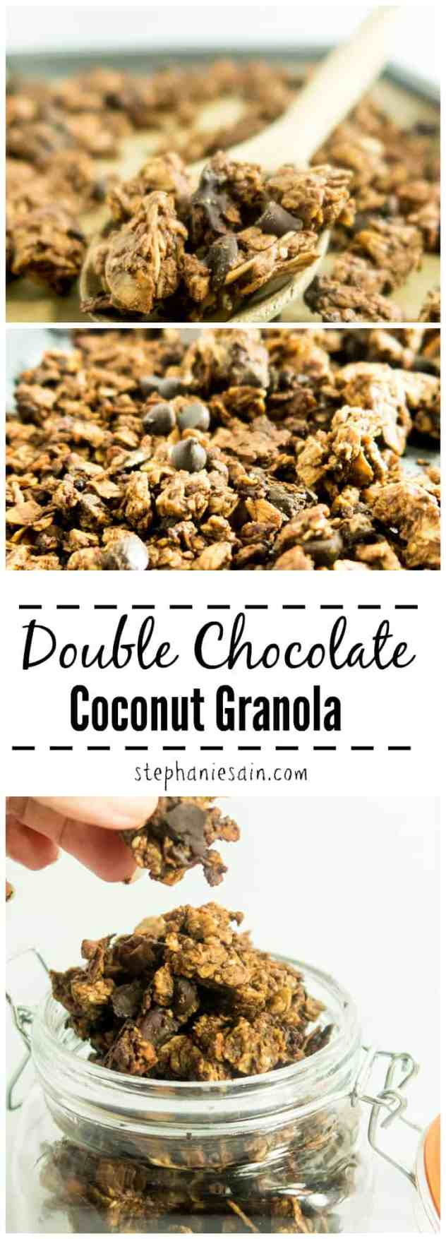 Double Chocolate Coconut Granola is loaded with intense chocolatey flavors and coconut flakes. Great as a healthy tasty snack or breakfast and it also a good topping for yogurt or smoothies. Gluten Free with Vegan Option.
