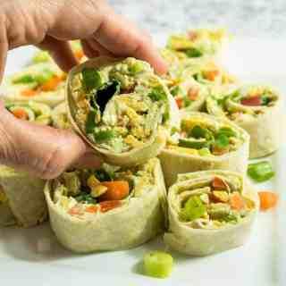 Chunky Avocado Cream Cheese Pinwheels