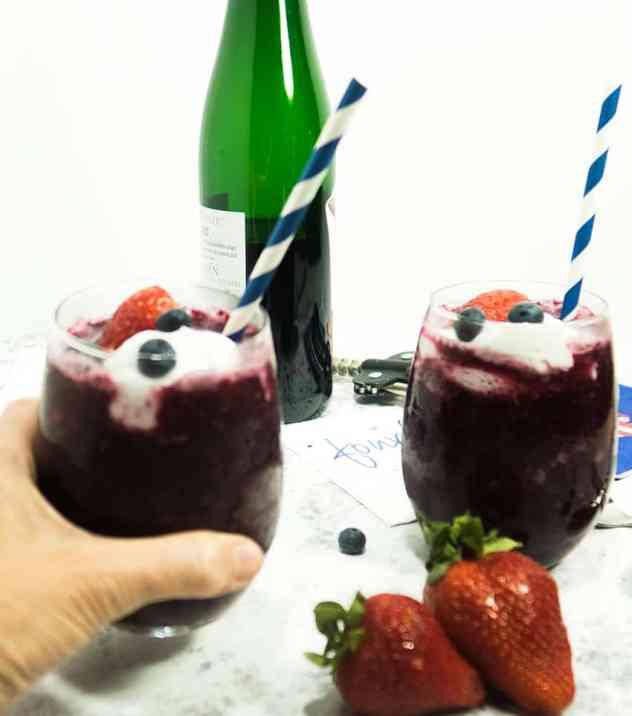 Easy Two Berry Patriotic Wine Slushies