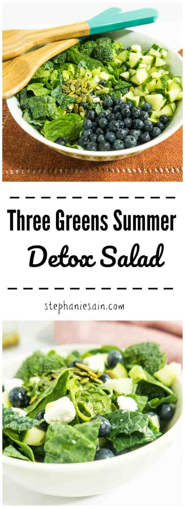 Three Greens Summer Detox Salad is loaded with lots of tasty, healthy nutrients. The perfect easy summer meal requiring little prep and no stove required. Also great for gatherings. Gluten Free & Vegan option.