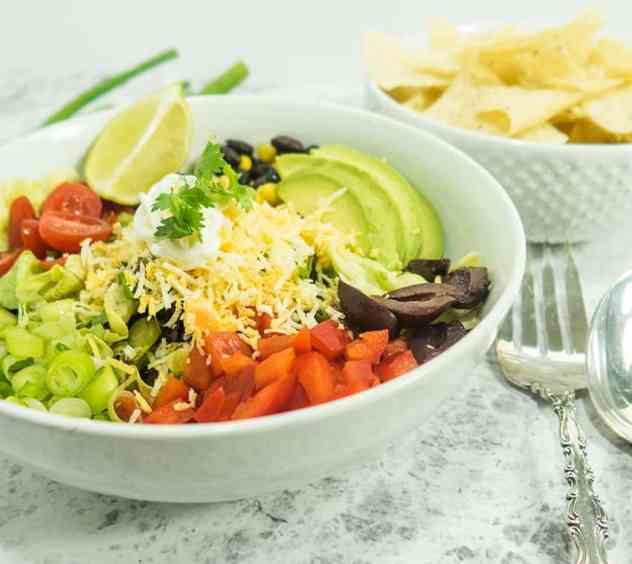 Best Vegetarian Black Bean Taco Salad   Apples for CJ
