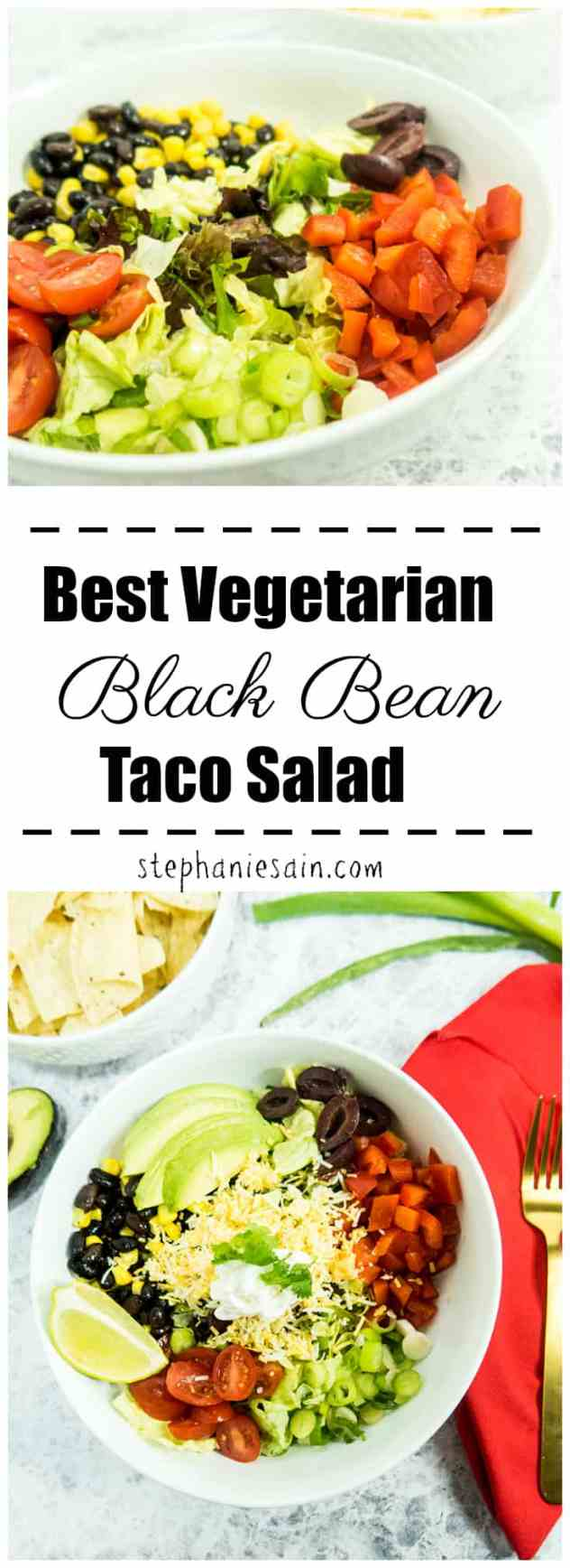 Best Vegetarian Black Bean Taco Salad is topped with all your favorite taco toppings and dressed with a chili lime vinaigrette. Perfect kid friendly salad great for your busy summer weeknights. Gluten Free with Vegan option.